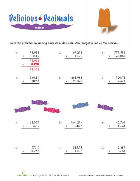 Fifth Grade Math Worksheets: Adding Decimals