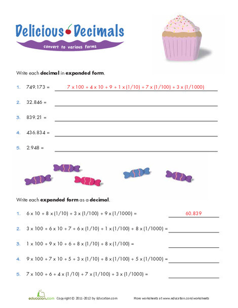 Fifth Grade Math Worksheets: Expanded Form