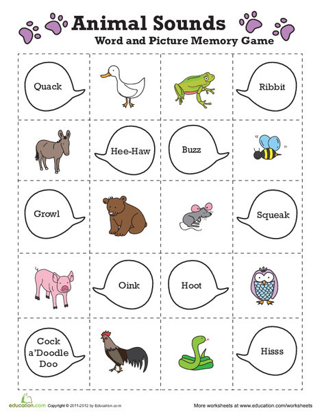 Preschool Reading & Writing Worksheets: Easy Animal Memory Game