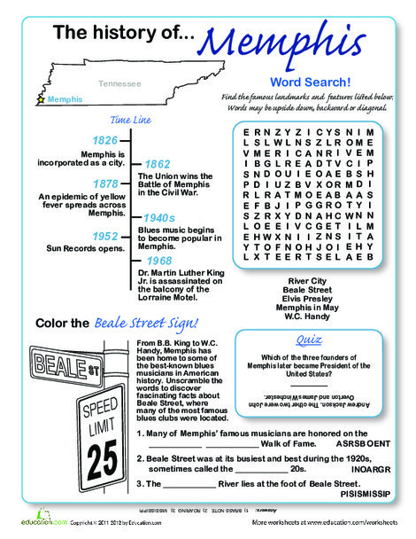 Third Grade Social studies Worksheets: History of Memphis