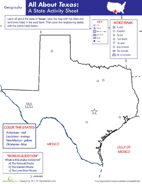 Fifth Grade Social studies Worksheets: Texas Geography