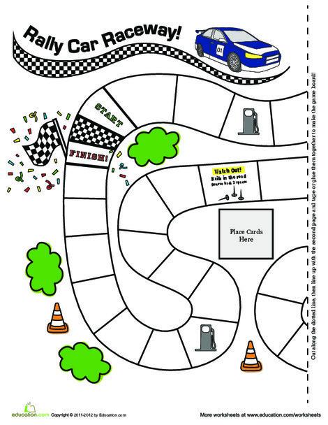First Grade Offline games Worksheets: Rally Car Raceway