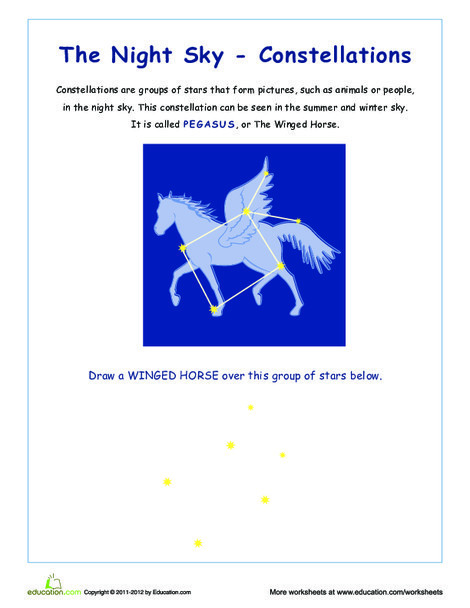 Third Grade Science Worksheets: Pegasus: Constellations