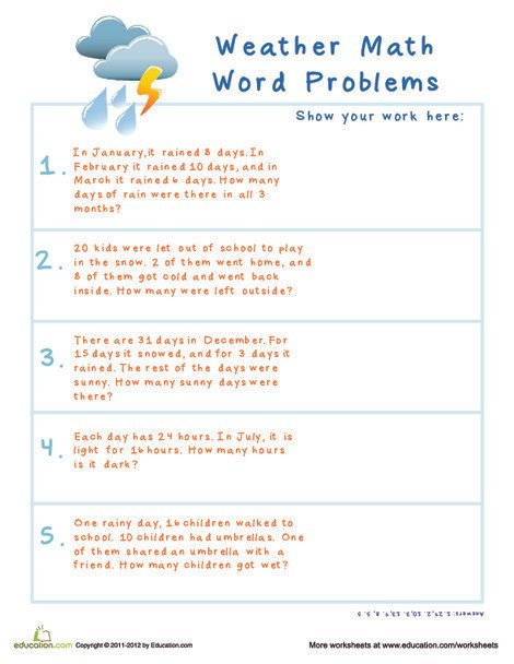 Second Grade Math Worksheets: Subtraction Word Problems