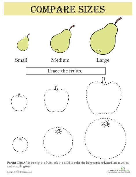 Kindergarten Math Worksheets: Compare Sizes: Fruit