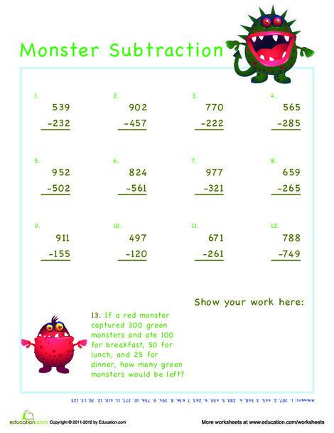 Third Grade Math Worksheets: Monster 3 Digit Subtraction