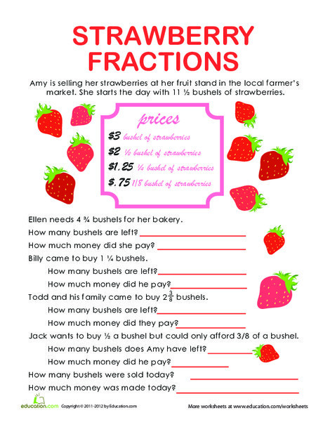 Fifth Grade Math Worksheets: Fraction Word Problems: Strawberry Stand