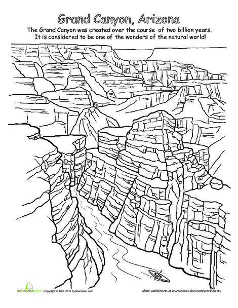 First Grade Social studies Worksheets: National Parks: Grand Canyon