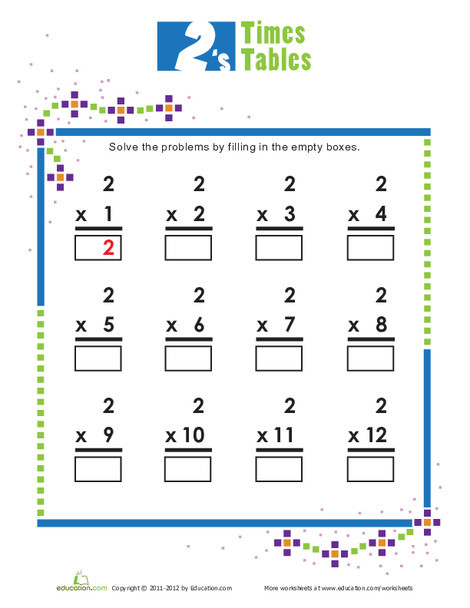 Second Grade Math Worksheets: Times Tables: 2s