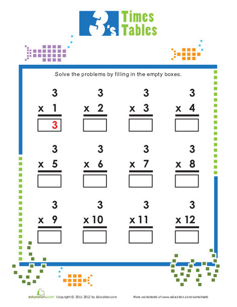 Second Grade Math Worksheets: Times Tables: 3s