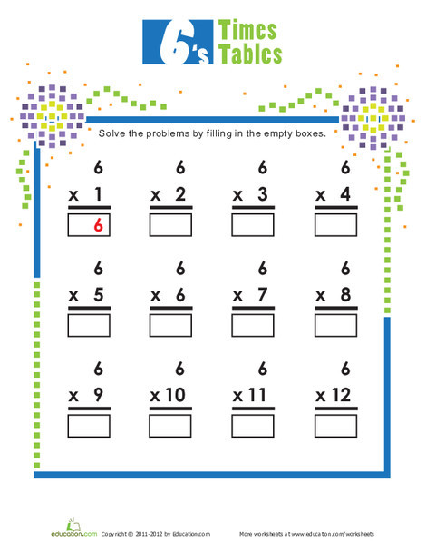 Second Grade Math Worksheets: Times Tables: 6s