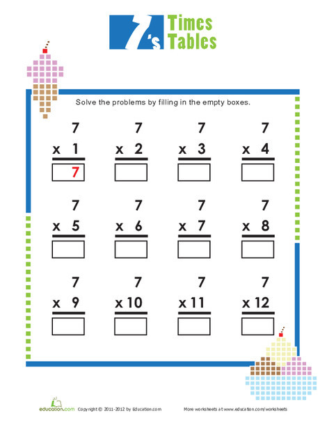 Second Grade Math Worksheets: Times Tables: 7s