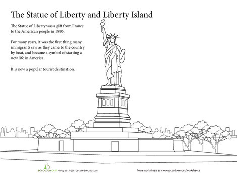 First Grade Coloring Worksheets: Summer Vacation Coloring: The Statue of Liberty