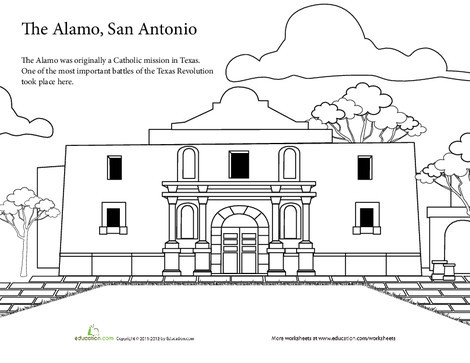 First Grade Coloring Worksheets: The Alamo Coloring Page