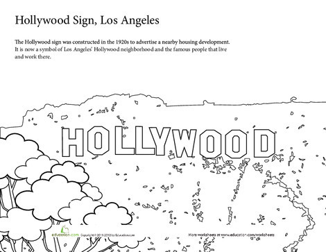 First Grade Coloring Worksheets: Summer Vacation Coloring: The Hollywood Sign