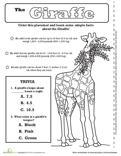 First Grade Arts & crafts Worksheets: Giraffe Activity Placemat
