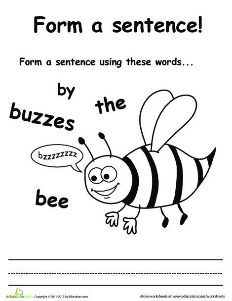 First Grade Reading & Writing Worksheets: Make a Buzzing Bee Sentence