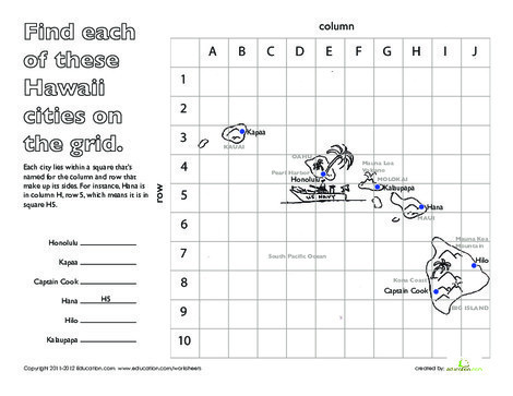 Second Grade Social studies Worksheets: Longitude and Latitude: Hawaii