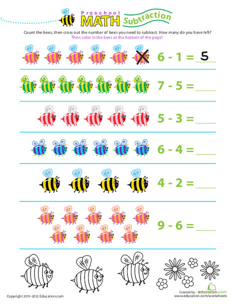 Preschool Math Worksheets: Preschool Math: Take Away the Bees