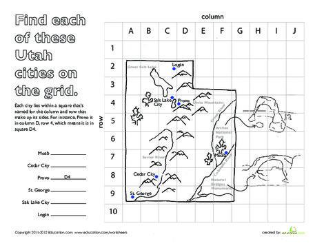 Second Grade Social studies Worksheets: Longitude and Latitude: Utah
