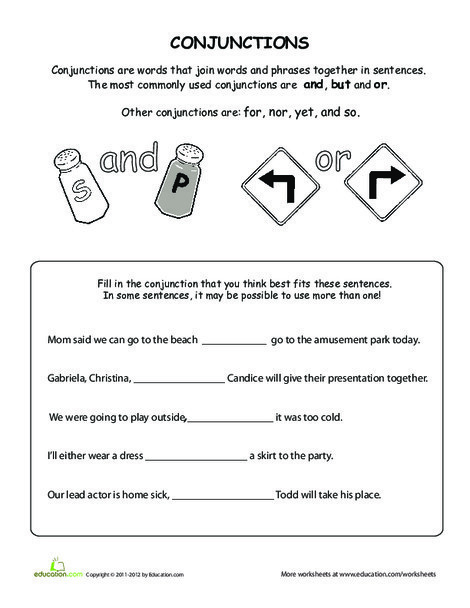 Fifth Grade Reading & Writing Worksheets: What Are Conjunctions?