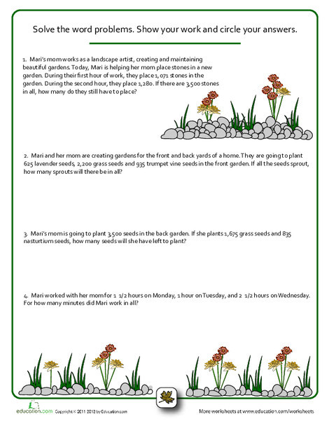Fourth Grade Math Worksheets: Word Problems: How Does Your Garden Grow?
