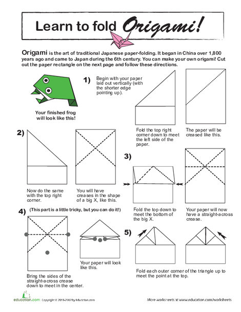 Third Grade Arts & crafts Worksheets: Learn to Fold Origami!