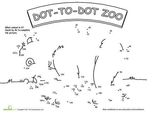 Second Grade Coloring Worksheets: Dot to Dot Zoo: 4's