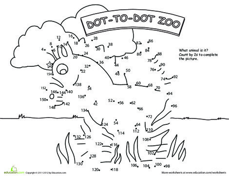 Second Grade Math Worksheets: Dot to Dot Zoo: 2's