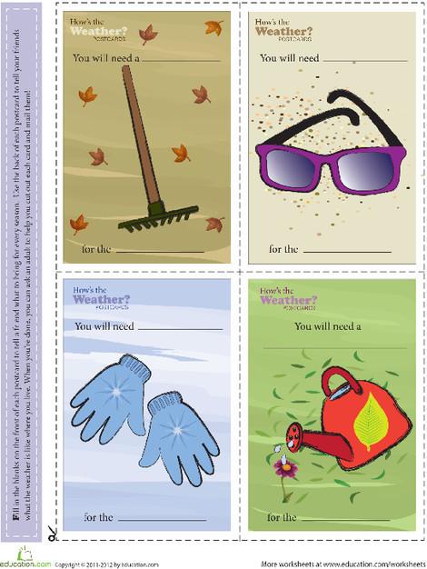 Kindergarten Seasons Worksheets: Send a Postcard: Weather Watch
