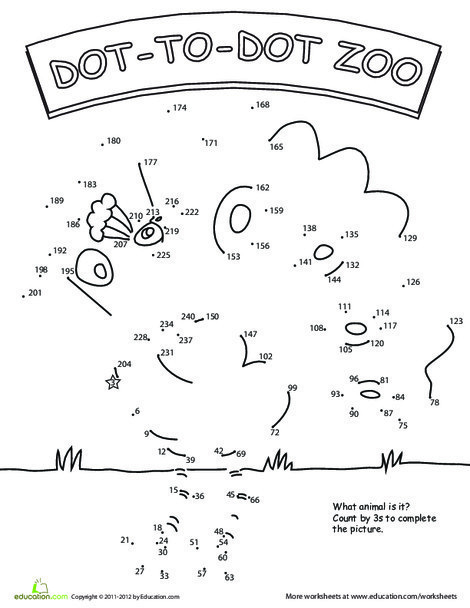 Second Grade Coloring Worksheets: Skip Count by Three
