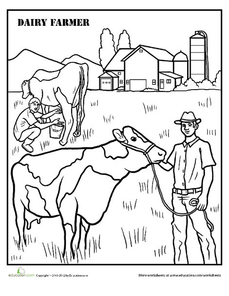 Second Grade Coloring Worksheets: Farmer Coloring Page