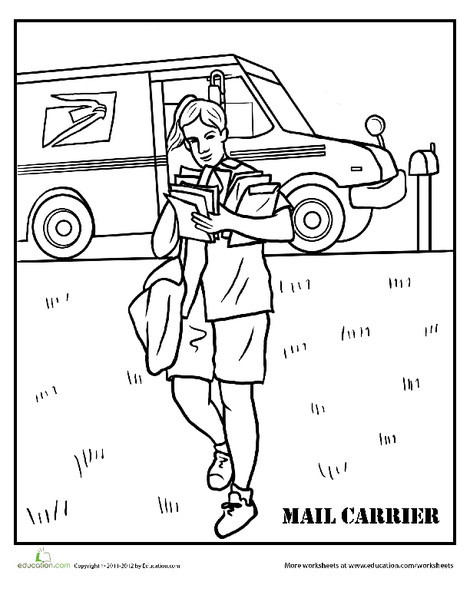 Second Grade Coloring Worksheets: Mail Carrier Coloring Page