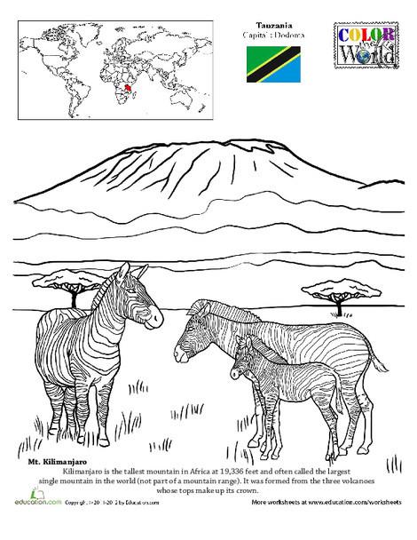 Second Grade Social studies Worksheets: Color the World! Mt. Kilimanjaro