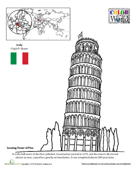 Second Grade Coloring Worksheets: Color the World! The Leaning Tower of Pisa