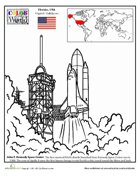 Second Grade Coloring Worksheets: Color the World! Kennedy Space Center