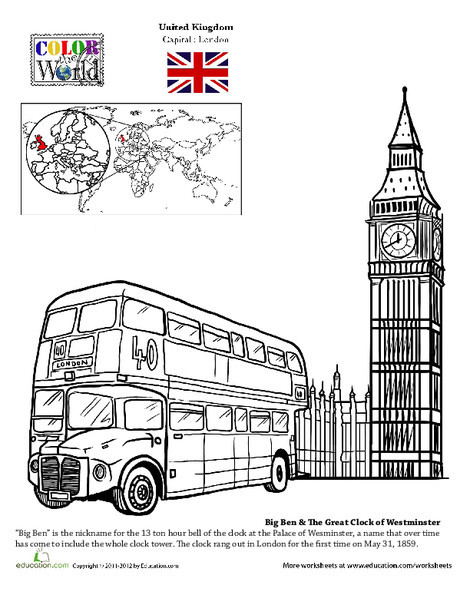 Second Grade Coloring Worksheets: London Coloring Page