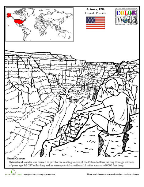 Second Grade Coloring Worksheets: Grand Canyon Coloring Page
