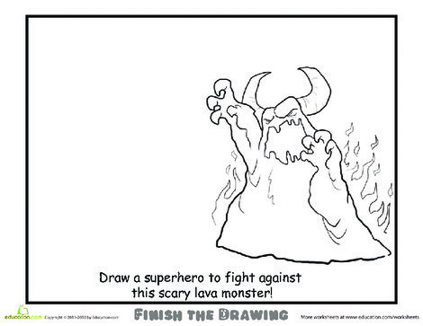 Second Grade Coloring Worksheets: Draw a Superhero!