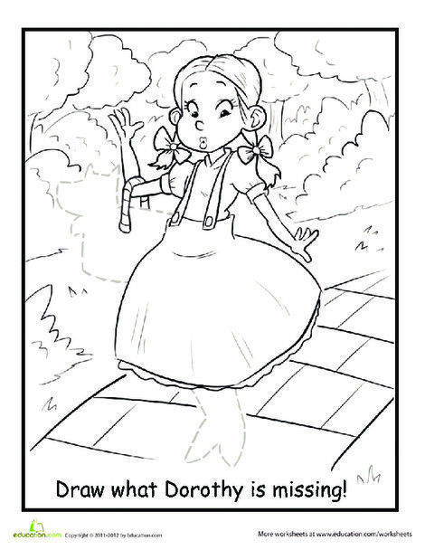 First Grade Coloring Worksheets: Dorothy and Toto Coloring Page