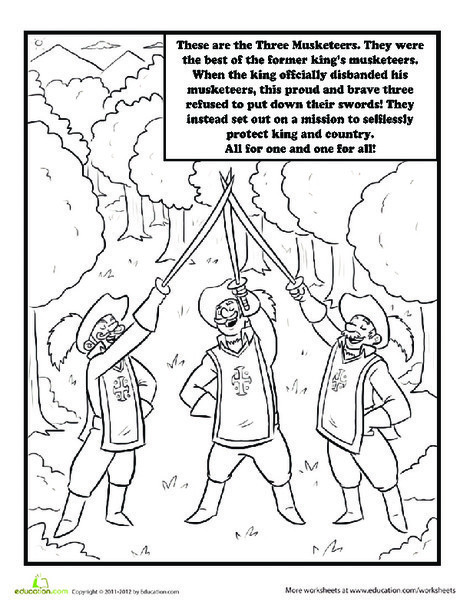 Second Grade Coloring Worksheets: Three Musketeers Coloring Page
