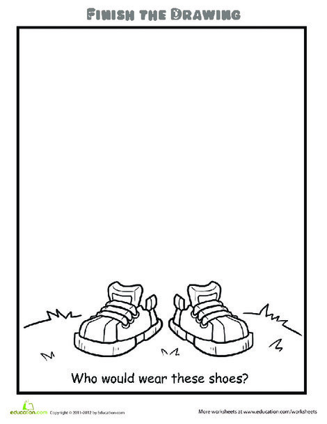 Second Grade Coloring Worksheets: Finish the Drawing: Who Would Wear These Shoes?