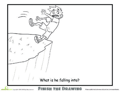 Second Grade Coloring Worksheets: Finish the Drawing: What is he Falling Into?