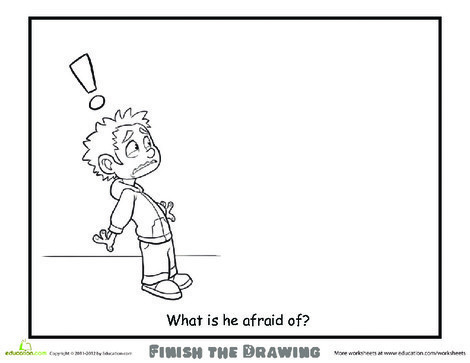 Second Grade Coloring Worksheets: Finish the Drawing: What is he Afraid Of?