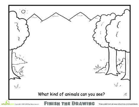 Second Grade Coloring Worksheets: Finish the Drawing: What Kind of Animals Can You See?
