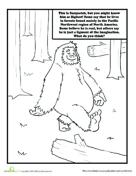 Second Grade Coloring Worksheets: Sasquatch Coloring Page