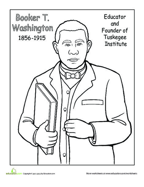 Second Grade Seasons Worksheets: Booker T. Washington Coloring Page
