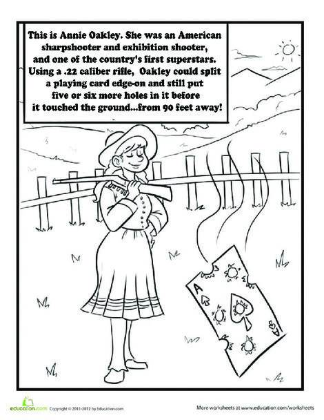 Second Grade Coloring Worksheets: Color Annie Oakley
