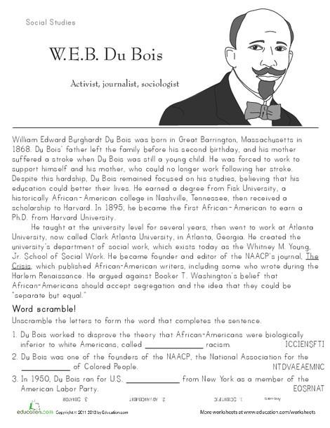 Second Grade Seasons Worksheets: W.E.B. DuBois: Historical Heroes