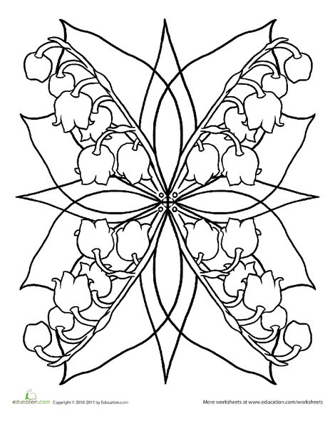 Second Grade Coloring Worksheets: Lily of the Valley Mandala
